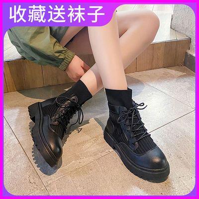 马丁靴女秋季薄款2020新款英伦风百搭系带防滑耐磨平底休闲短靴潮