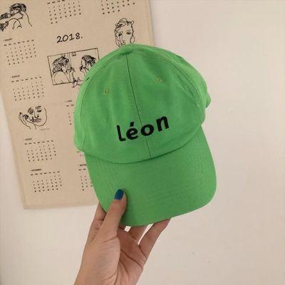 新款时尚字母软顶绿色棒球帽子男女百搭休闲透气夏季鸭舌帽遮阳帽