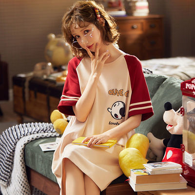 可外穿睡裙女夏带胸垫韩版学生宽松睡衣全棉可爱吊带背心家居服潮