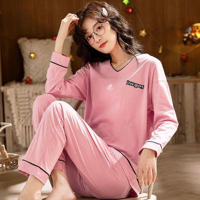 睡衣秋女春秋季棉长袖家居服冬季套头宽松大码女士套装可外穿纯色