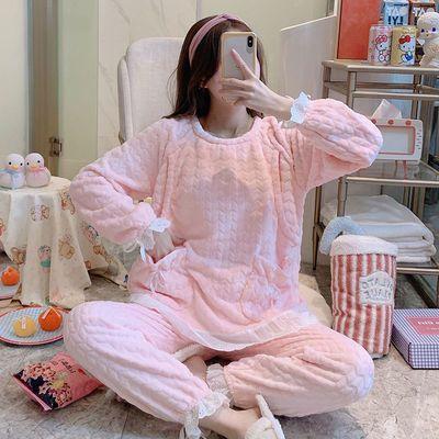孕妇睡衣秋冬季加厚珊瑚绒产后月子服摇粒绒怀孕期哺乳喂奶衣套装