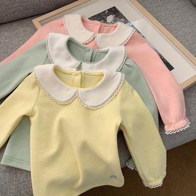 童装2020秋款儿童娃娃领女童打底衫长袖t恤上衣女宝宝百搭打底衫