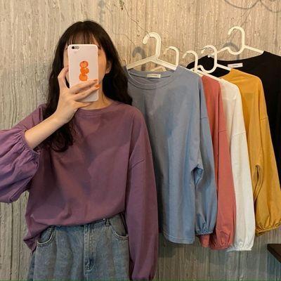 秋季2020新款韩版宽松ins学院风灯笼袖薄款长袖t恤女装学生上衣潮