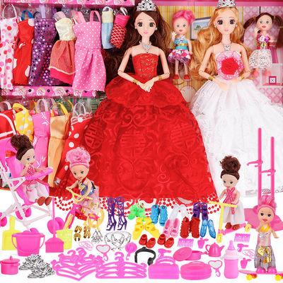 聚宁源3D巴比洋娃娃芭比娃娃套装大礼盒长发女孩公主婚纱衣服儿童