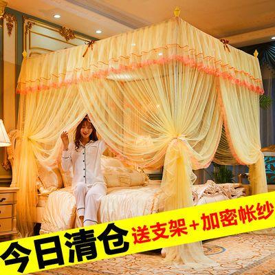 【蚊帐+加粗支架】三开门方顶落地式宫廷蚊帐加密加厚1.5m1.8m床