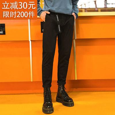 SADUN裤子男秋冬直筒宽松长裤黑色小西裤韩版潮流百搭抓绒休闲裤