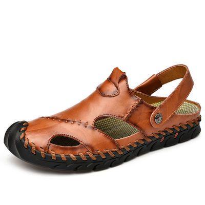 夏季透气包头凉鞋男沙滩鞋休闲凉拖鞋真皮镂空男士防滑户外溯溪鞋