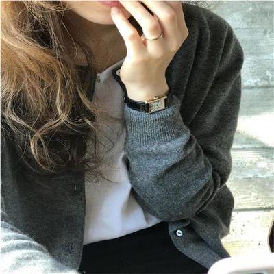 灰色毛衣外套女2020韩版新款秋冬宽松慵懒风短款针织上衣开衫外搭