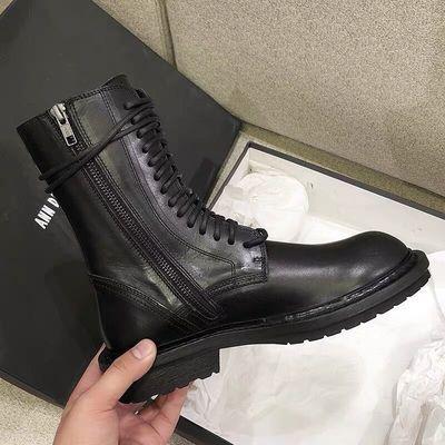 透气单里马丁靴夏季女英伦风平底靴子新款单鞋ANN机车中筒骑士靴