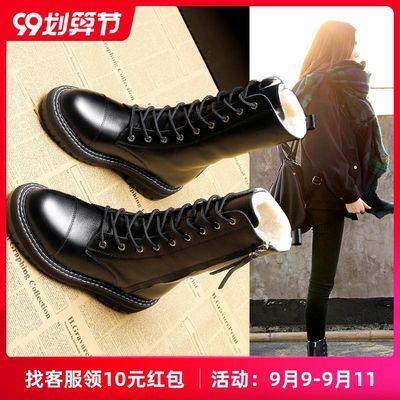 户外雪地靴女2020冬季新款防水防滑中筒靴棉鞋平底马丁靴女加绒靴