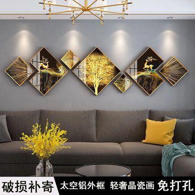 简约现代高档大气客厅沙发背景装饰画北欧轻奢壁画组合晶瓷墙挂画