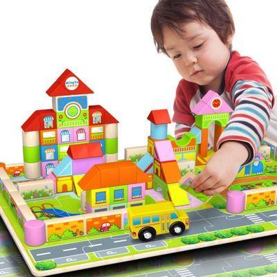 新款铭塔大颗粒宝宝益智积木女孩木质早教儿童玩具男孩3岁幼儿园