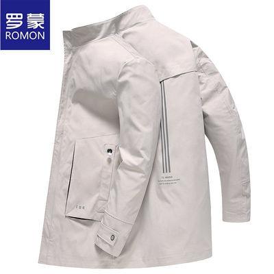 Romon/罗蒙男士风衣春秋季立领夹克中长款上衣中青年薄款休闲外套