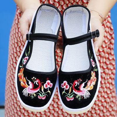 新款老北京手工布鞋女士上线牛筋绣花鞋复古民族风棉布鞋浅口防滑
