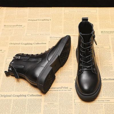 马丁靴女平底机车靴2020新款秋冬季百搭显脚小加绒黑色网红短靴女