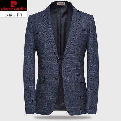 皮尔卡丹羊毛西服中年男士休闲单西上衣修身商务男装外套春秋免烫