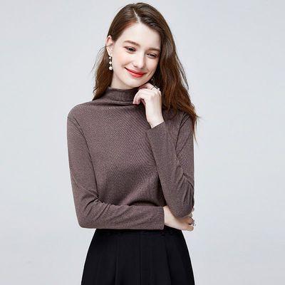 她池2020冬装新款女韩版简约纯色高领长袖内搭T恤修身打底衫B