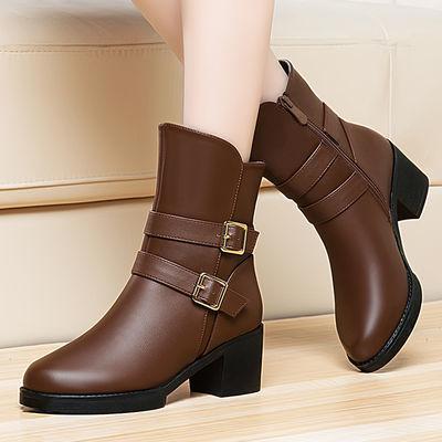 【优质软皮】秋冬季短靴女鞋粗跟时装靴中跟加绒保暖雪地靴女靴子