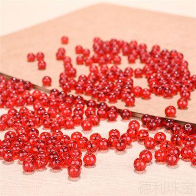 红珠子散珠编手链项链DIY材料仿玛瑙玉珠水晶玻璃珠手工配饰批发