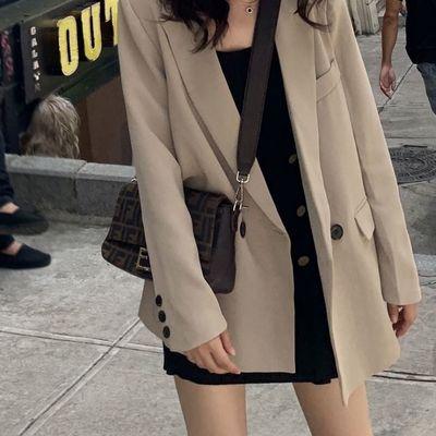 18695/黑色西装外套女2020秋季新款宽松休闲上衣外套潮ins春秋季小西服