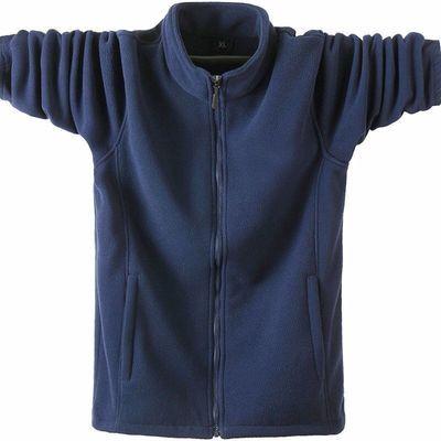 秋冬款男士大码运动抓绒卫衣服宽松夹克双面绒加厚保暖摇粒绒外套