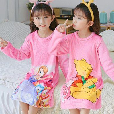 秋冬季新款儿童睡裙法兰绒长袖中大童小孩卡通珊瑚绒公主家居服裙