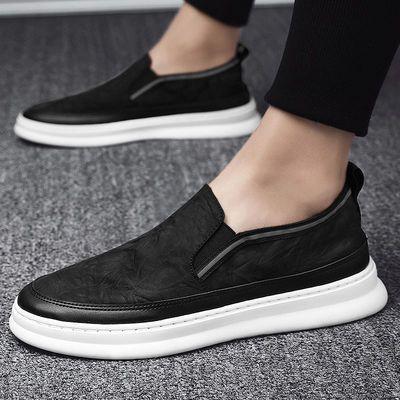 帆布鞋子男2021年新款春季潮流休闲一脚蹬懒人鞋男士乐福豆豆板鞋