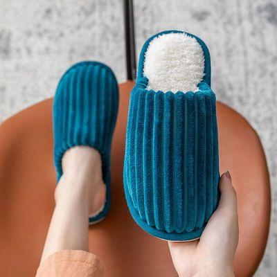 棉拖鞋女冬季家用室内居家居加绒厚底防滑月子情侣毛拖鞋秋冬天男