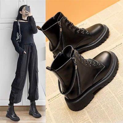 马丁靴女英伦风短靴春秋单靴2020新款链子潮搭ins酷加绒厚底靴子