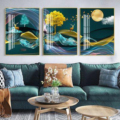 客厅装饰画现代简约北欧沙发背景墙壁画冰晶餐厅高档玻璃三联挂画