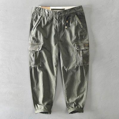 76186/新款男士全棉纯色多口袋休闲工装裤青年宽松直筒纯棉小脚长裤男潮