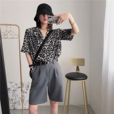 复古垫肩雪纺豹纹衬衫女夏季新款韩版宽松显瘦短袖上衣小众港风潮