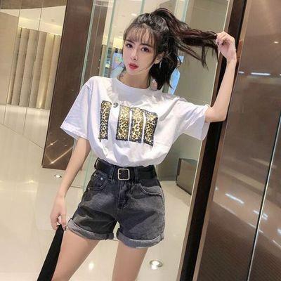 2020款韩版女装套装时尚豹纹恤短袖上衣+高腰短裤牛仔裤女