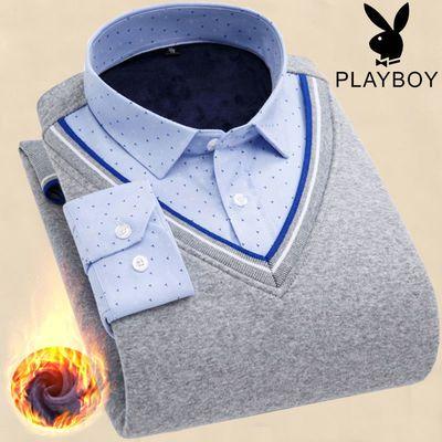 花花公子冬季保暖衬衫男加绒加厚假两件针织衫男中年宽松棉质衬衣