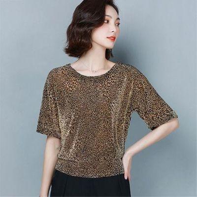 2020夏新款T恤女短袖宽松蝙蝠衫大码洋气显瘦遮肚豹纹网纱打底衫