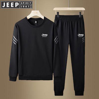 JEEP吉普春秋季新款男装休闲运动套装男卫衣长袖宽松跑步服两件套