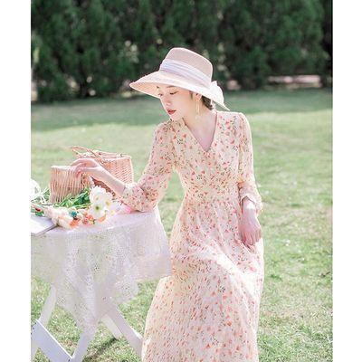 88612/春秋2021年新款女法式复古气质长裙收腰显瘦碎花桔梗裙仙女连衣裙
