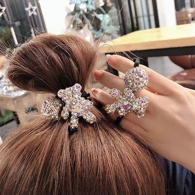 橡皮筋发圈女韩国东大门同款满钻发绳小熊钻球扎头发皮套网红发饰