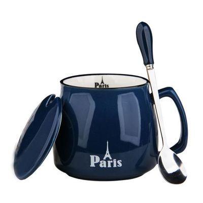 宜家IKEA马克杯带盖子勺子情侣饮水咖啡杯早餐平底玻璃大杯子陶瓷
