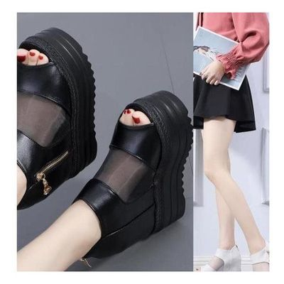 (拖鞋14CM坡跟超高跟内增高鱼嘴鞋松糕跟皮带扣女鞋防水台厚底凉