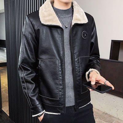 秋冬季加绒皮衣男士加厚韩版修身皮毛一体男皮夹克帅气潮男装外套