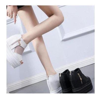 14CM坡跟超高跟内增高鱼嘴鞋松糕跟皮带扣女鞋防水台厚底凉拖鞋