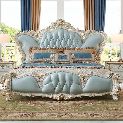 依然美佳奢华真皮床锦鲤雕花实木家具双人床主卧室结婚床珍珠白色