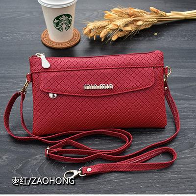 2018新款格纹斜挎包单肩包韩版时尚手拿包女气质百搭零钱包手机包