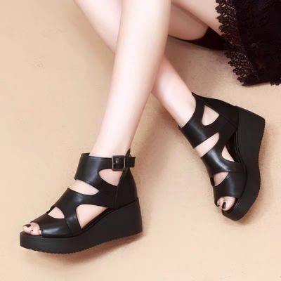 凉鞋女2020新款夏季透气鞋子百搭黑色高跟一字扣带厚底松糕坡跟鞋