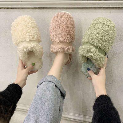 网红毛毛拖女秋冬新款平底一脚蹬懒人拖鞋外穿包头羊羔毛半拖棉拖