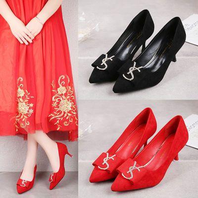 鞋子女2020新款潮红色高跟鞋少女尖头细跟性感百搭职业工作单皮鞋