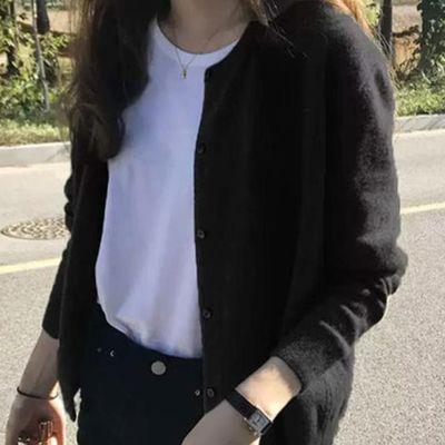 灰色毛衣外套女开衫2020春秋韩版慵懒风宽松长袖针织上衣洋气外穿