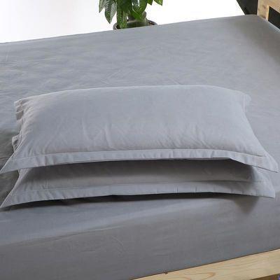x2019时尚新款一对装日式纯色灰色枕头套白色单枕套水洗棉枕套全
