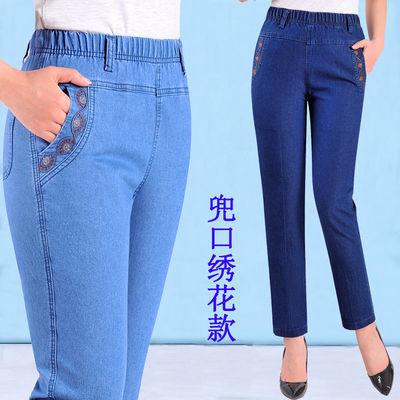 夏季薄款中老年女士九分松紧腰牛仔裤高腰大码弹力七分裤直筒裤